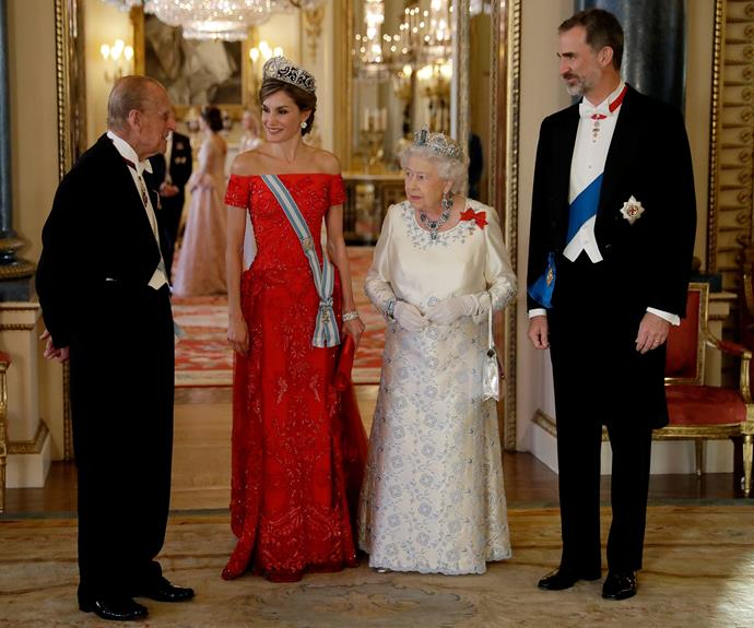 Queen Elizabeth honored Spain's King Felipe and Queen Letizia at Buckingham Palace on Wednesday.