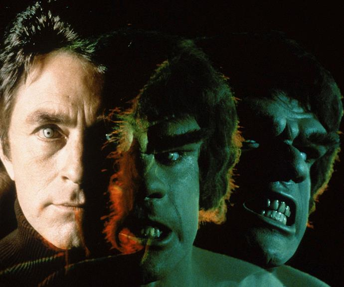 "***THE INCREDIBLE HULK:*** As the sorrowful piano of ""The Lonely Man Theme"" marks the end of another episode and David Banner (played by Bill Bixby) leaves town like a short-ripping The Littlest Hobo, *The Incredible Hulk* played on green form by muscle man Lou Ferrigno, wins again as the '70s most sombre comic book adaptation. The creature that Banner turns into after a near fatal dose of gamma radiation is wanted for a murder he didn't commit. You wouldn't like him when he's angry."