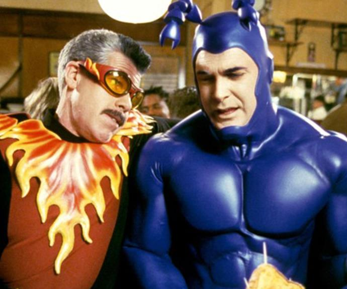"***THE TICK:*** *The Tick*, created by cartoonist Ben Edlund, has had two television incarnations. The first in 2001 starred Patrick Warburton aka. David Puddy from *Seinfeld*, and the second, in 2016, starred British comedian Peter Serafinowicz (*Shaun Of the Dead*). Both follow the adventures of the 7-foot, 400-pound superhero with nigh-invulnerability, superhuman strength and super speed. ""Spoooooon!"""