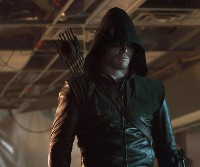 ***ARROW:*** Take a bow, sharp-shooting vigilante Green Arrow. The billionaire playboy turned shadowy superhero after he is stranded on a mysterious island for five years. Using his father's notebook as a kill list. Living in the same universe as Constantine and featuring Supergirl, The Flash and the, erm… legends from *Legends Of Tomorrow* in its 100th episode, the hooded crack shot spearheaded the D.C. TV renaissance.