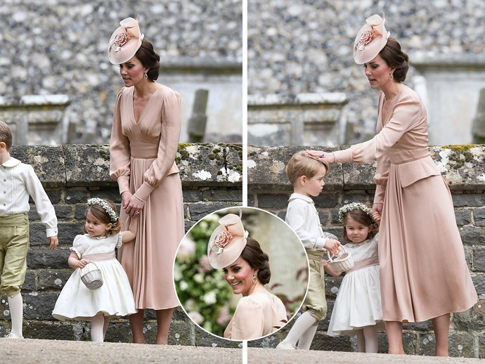 "**May 20:** Sister [Pippa's wedding to James Matthews](http://www.nowtolove.com.au/royals/british-royal-family/prince-george-princess-charlotte-stole-pippa-wedding-37622|target=""_blank"") saw the whole family get out their Sunday best, and Kate was no different, looking flawless as always in a blush pink Alexander McQueen dress with matching fascinator."