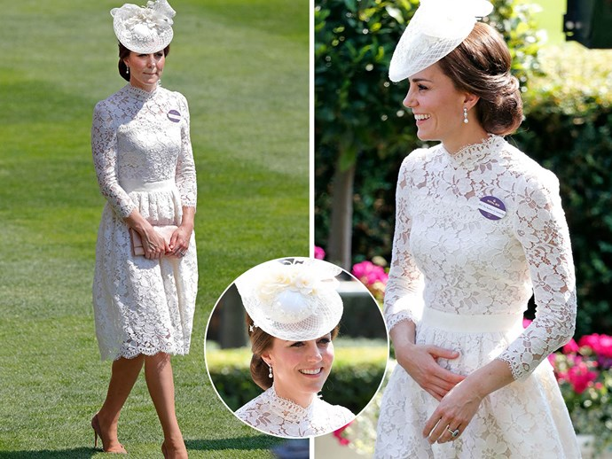 "**June 20:** The Duchess of Cambridge attended Royal Ascot 2017 wearing a stunning white lace, in a dress designed by Alexander McQueen - although it was a bespoke version as naturally the hemline was lengthened. It was very similar to the dress [Kate wore to Ascot in 2016](http://www.nowtolove.com.au/fashion/fashion-news/fashion-on-the-field-at-royal-ascot-2016-14442|target=""_blank""). So much so royal fans wondered if she was doing one her famous [fashion repeats](http://www.nowtolove.com.au/royals/british-royal-family/duchess-catherine-frugal-fashion-20265