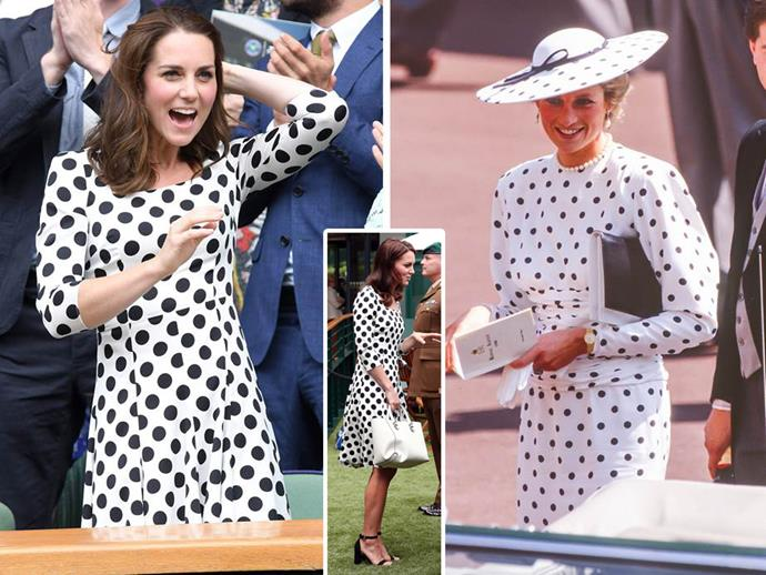 **July 3:** While cheering on the stars of [Wimbledon](http://www.nowtolove.com.au/royals/british-royal-family/royals-at-wimbledon-38905), Kate wore a gorgeous polka dot dress that gave us a serious case of deja vu. Upon digging through the archives, the reason was clear - because it was a strikingly similar to the [dress Princess Diana]( http://www.nowtolove.com.au/royals/british-royal-family/duchess-catherine-channels-princess-diana-20256) wore around the same time of year to the Royal Ascot Races in 1988.
