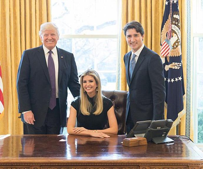 The picture in question of Ivanka alongside Donald Trump and Justin Trudeau.