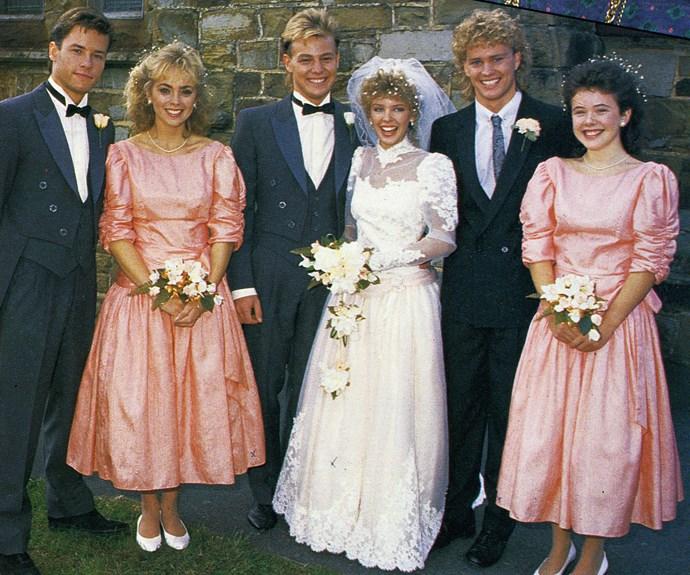 The wedding party: Guy Pearce, Annie Jones, Jason, Kylie, Craig McLachlan and Sasha Close.