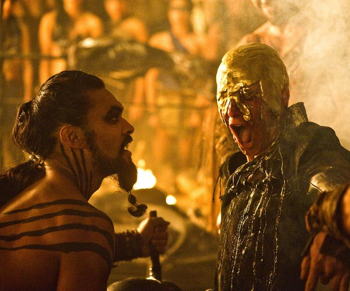 "**Khal Drogo kills Viserys Targaryen – season 1, episode 6 *""A Golden Crown""***: We all cheered when Khal Drogo (Jason Momoa) finally took care of his wife's pesky brother Viserys Targaryen (Harry Lloyd). Not only had Viserys become increasingly threatening towards Danerys (Emilia Clarke), but his quest for a golden crown was becoming an obsession. Drogo made Viserys his golden crown, pouring a pot of boiling metal over his little blonde head."