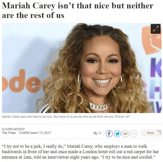 I like when headlines liken Mariah to the everyman.
