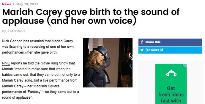 The headline is so Mariah I'm not even shocked by it, but then the quote from Nick Cannon - which is said without a hint of irony - really takes it across the line.