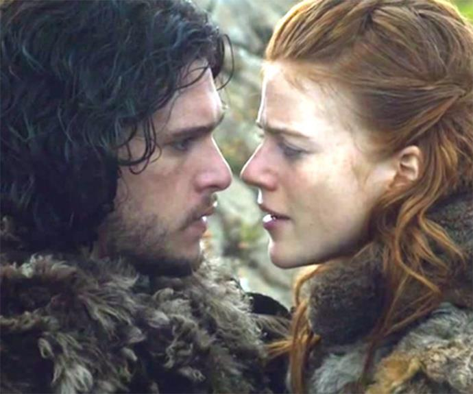 Kit and Rose as Jon and Ygritte in Game of Thrones