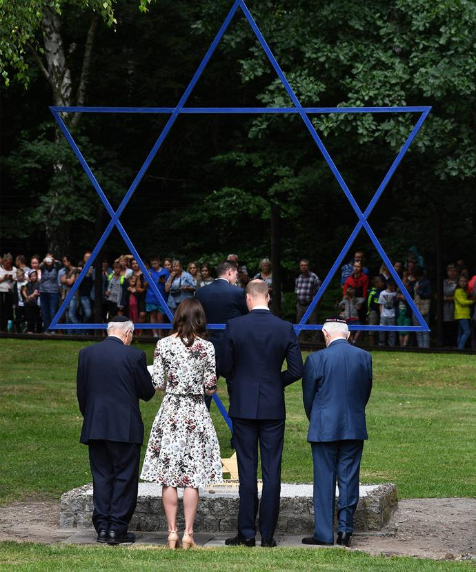 The couple paid their respects, through a Jewish custom - the placing of stones honours the dead by letting people know that the gravesite has recently been visited.