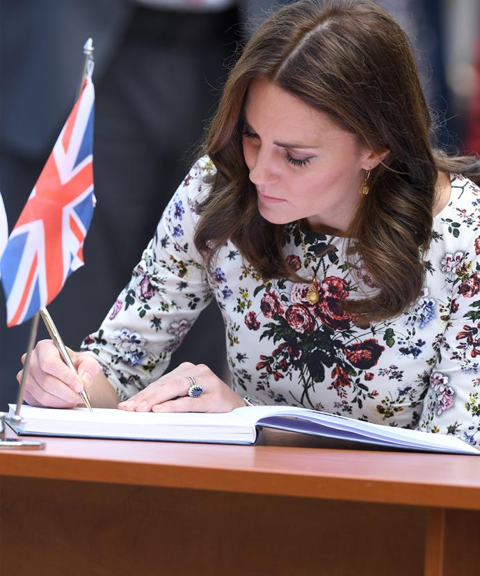 """Kate penned, """"We were intensely moved by our visit to Stutthof, which has been the scene of so much terrible pain, suffering and death."""""""