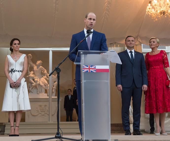 """William gave a speech in front of the 600 invited guests, saying, We in the United Kingdom value our links with Poland enormously. We admire Poland as a remarkable example of courage, fortitude and resilience. You have survived centuries of assaults on your land, including partitions that were designed to wipe you off the map of Europe."""""""