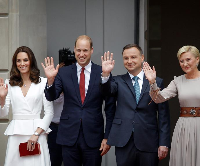 The Duke and Duchess, both 35, were formally welcomed to Poland by President Duda and the First Lady at the Presidential Palace.