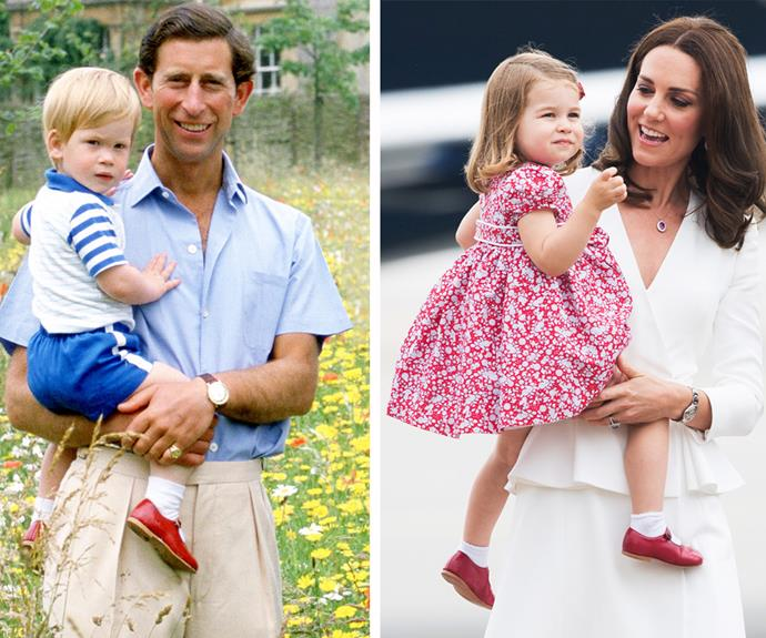 How did we not notice this?! During the royal tour of Poland and Germany with brother Prince George and mum and dad Duchess Catherine and Prince William back in 2017, Princess Charlotte made us look twice when she stepped out in uncle Prince Harry's little red shoes from 1986!