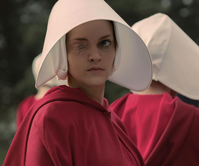 **Madeline Brewer:** Madeline stars as handmaid Janine in *The Handmaid's Tale*. At the beginning of the series Janine's eye is removed due to her bad behaviour.