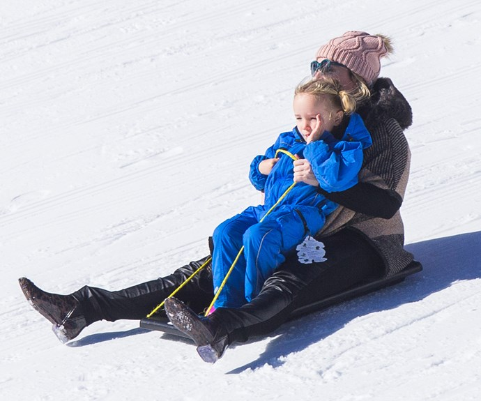 After a break in Bali, Fifi Box and her daughter Trixie swapped the tropics for the snowy slopes of Victoria's Mount Buller.