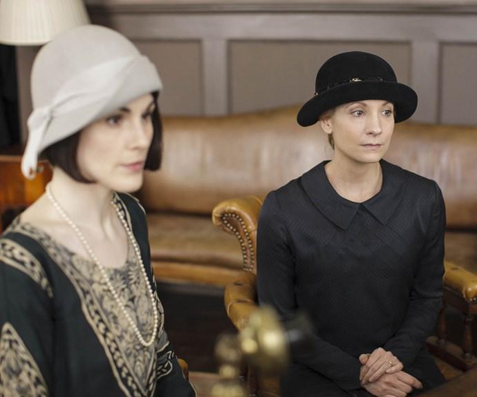 Michelle Dockery as Mary and Joanne Froggatt as Anna in *Downton Abbey*.