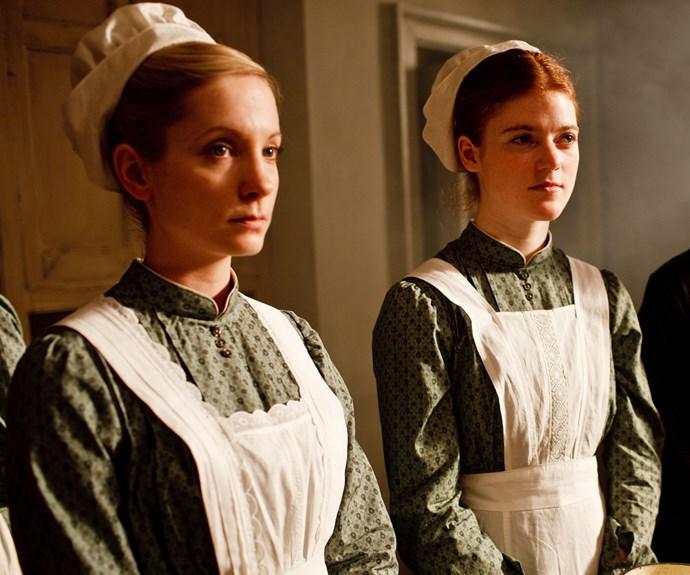 Joanne Froggatt alongside co-star Rose Leslie in *Downton Abbey* season one.