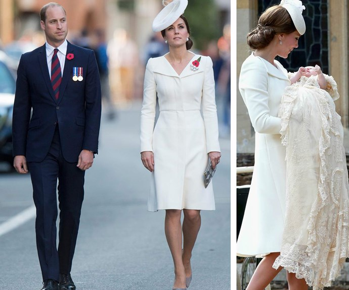 "The Duke and Duchess of Cambridge stepped out in [Belgium](http://www.nowtolove.com.au/royals/british-royal-family/prince-william-duchess-kate-belgium-visit-39568|target=""_blank"") recently for the centenary of the Battle of Passchendaele, and while the couple looked very smart indeed with Kate dressed in a white Alexander McQueen ensemble, royal spotters were quick to realise that we'd in fact seen this look before. That's right, despite a different headpiece, the mother-of-two had repeated the outfit worn for daughter Charlotte's Christening in 2015."