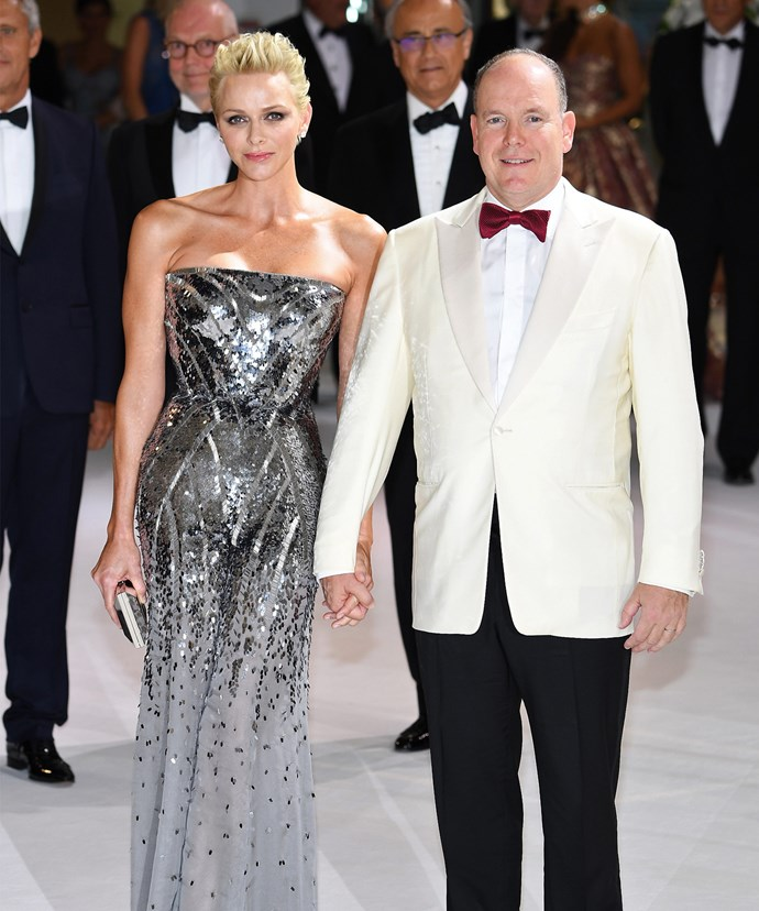 The sequins grow sparse in the latter third of Charlene's gown, revealing a sheer hem.