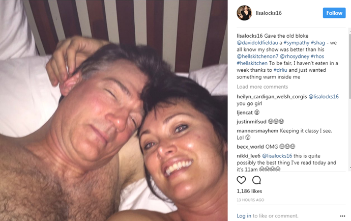 David also features on his wife *Real Housewives* star Lisa Oldfield's Instagram. Here is an image of them in a post-coital selfie.