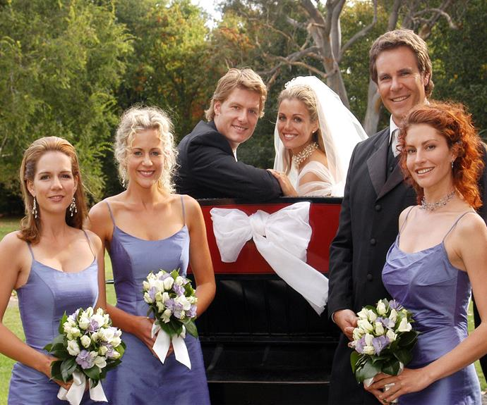 """""""Lavender was big back then!"""" Michala Banas recalls of her bridesmaid dress on the series. """"It was such a big TV moment when Nick [Myles Pollard] and Tess [Bridie Carter] got married!"""" See more great [***McLeod's Daughter's*** moments here.](http://www.nowtolove.com.au/celebrity/tv/mcleods-daughters-greatest-moments-38962