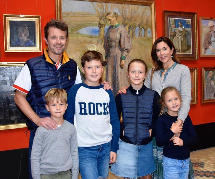 The happy family pose for a pic at the Faaborg Museum.