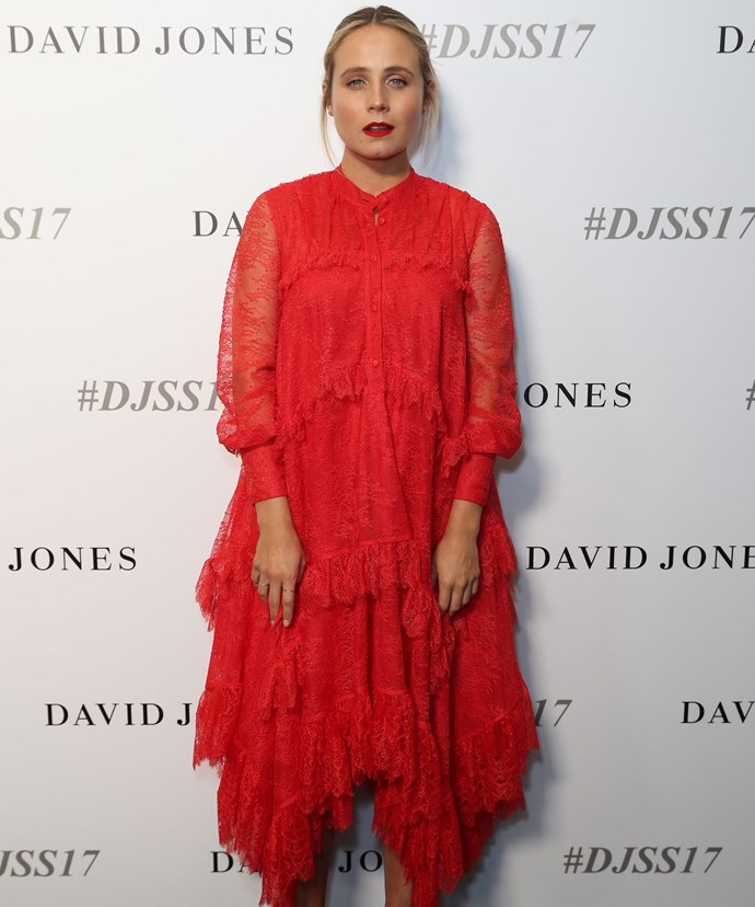 Tessa James was a vision in red.