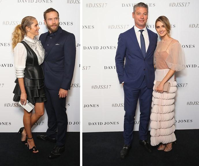 Couples galore: Teresa Palmer with Mark Webber [L] plus Sydney socialite Kate Waterhouse with her former footy star beau Luke Ricketson.