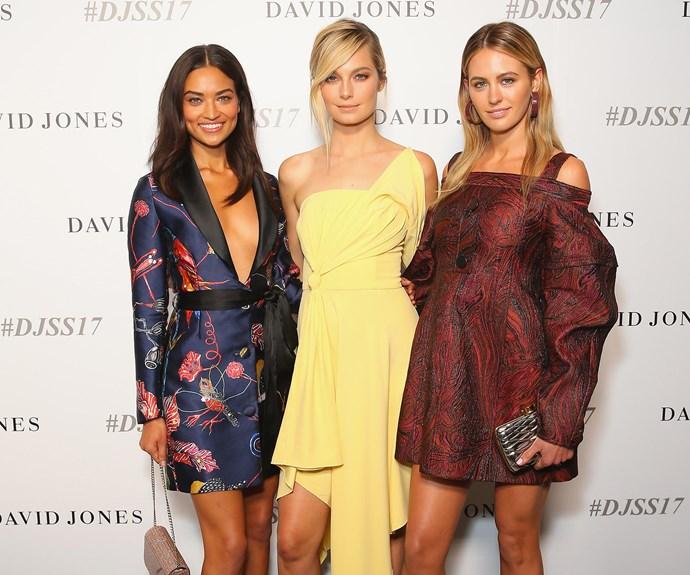 Models unite: Shanina Shaik, Bridget Malcolm and Jesinta Franklin.