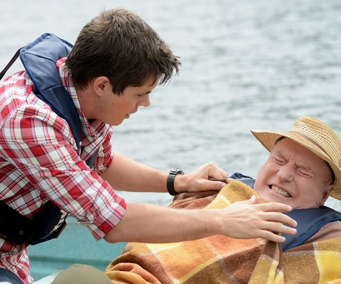 Johnny as Chris Harrington, and Alf Stewart played by Ray Meagher.