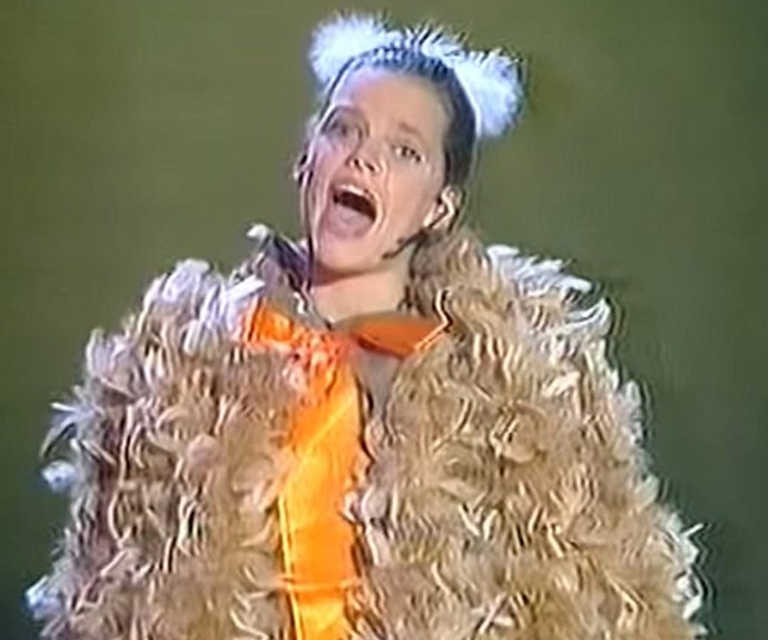 Back to where it all began! A 12-year-old Sophie brings down the house during a performance of *Ugly Duckling* on Bert Newton's *New Faces* in 1992.