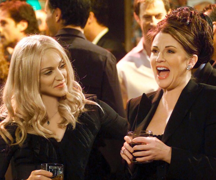 "**Madonna as Liz (Appearance: S5, E21):** After her divorce from Stan is finalised, Karen decides that she wants to connect with ""real people"" more, so she decides to answer a roommate wanted ad. Madonna stars as Liz, Karen's new roommate who turns out to be a totally bizarre office worker who is very particular about her house. Things turn sour between then when they end up fighting over the same guy. Karen then reveals that she in fact owns the WHOLE apartment building and Liz better look for alternative accommodation!"
