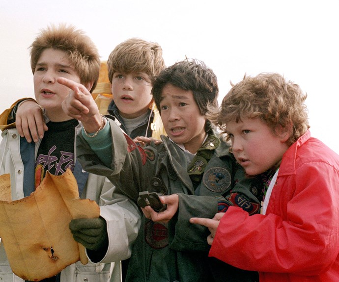 ***The Goonies*** **(1985):** After finding a mysterious map, a group of boys, played by  Sean Astin (Mikey), Corey Feldman (Mouth), Ke Huy Quan (Data), Josh Brolin (Brand), Jeff Cohen (Chunk) and John Matuszak (Sloth), launch a treasure hunt.
