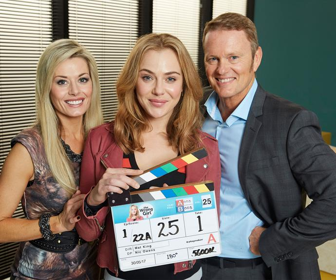 Madeleine West, Jessica Marais and Craig McLachlan in Zoe's book made TV series *The Wrong Girl*.