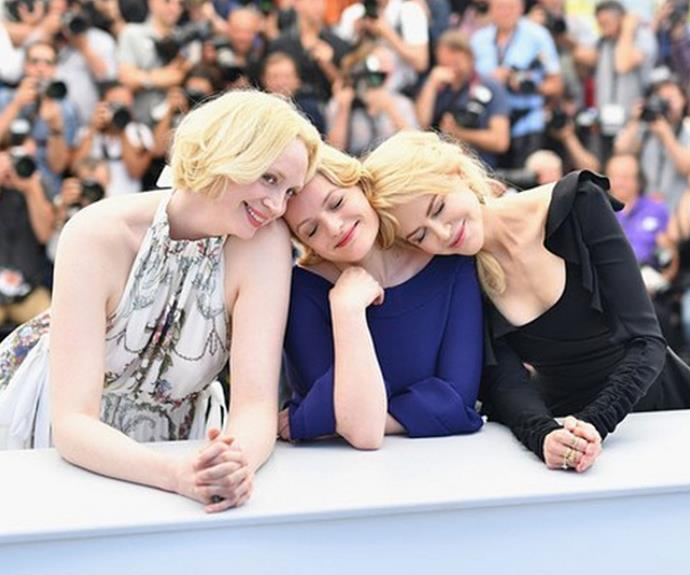 """Elisabeth Moss posted this shot of herself with Nicole Kidman and Gwendoline Christie at Cannes on Instagram with the caption, """"Girl squad""""."""
