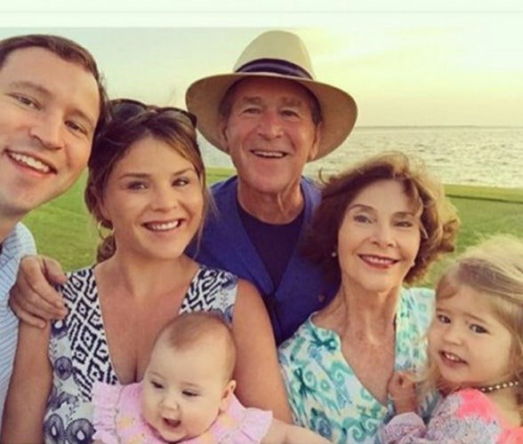 **George and Laura Bush:** Daughter Jenna Bush Hager shared this adorable family selfie in 2016. In the picture are her two daughters, Mila and Poppy.