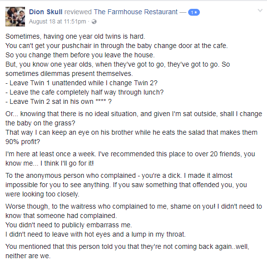 Dion's comment on The Farmhouse's Facebook page.