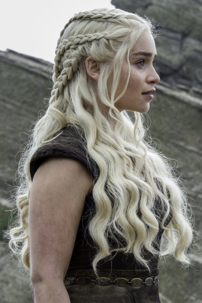 **Daenerys Targaryen, *Game of Thrones*** 'Mother of Dragons', 'Khaleesi', 'breaker of chains' and master of braids... Look, we've all been there; fighting kingdoms and flying dragons can be chaotic, but somehow Khaleesi manages with utmost ease. This haircut is intricate, complex and undeniably demanding of our respect.