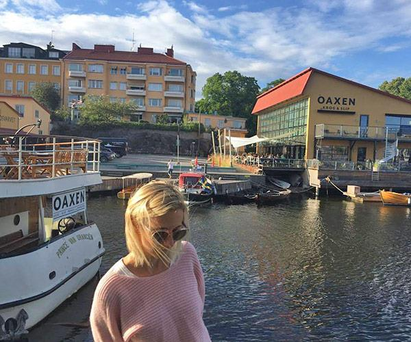 Across the river from the houseboat you'll find the Oaxen Krog & Slip.