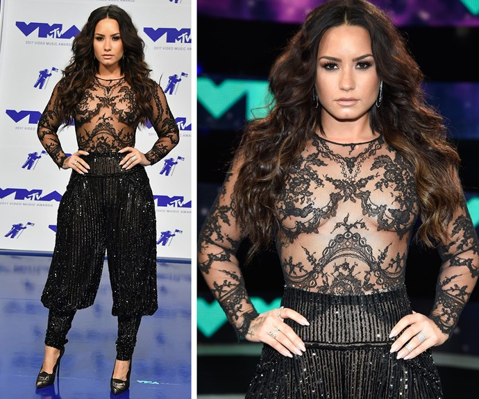 Suiting up! Demi Lovato dons some hammer-time worthy sequined parachute pants by Zuhair Murad Couture.