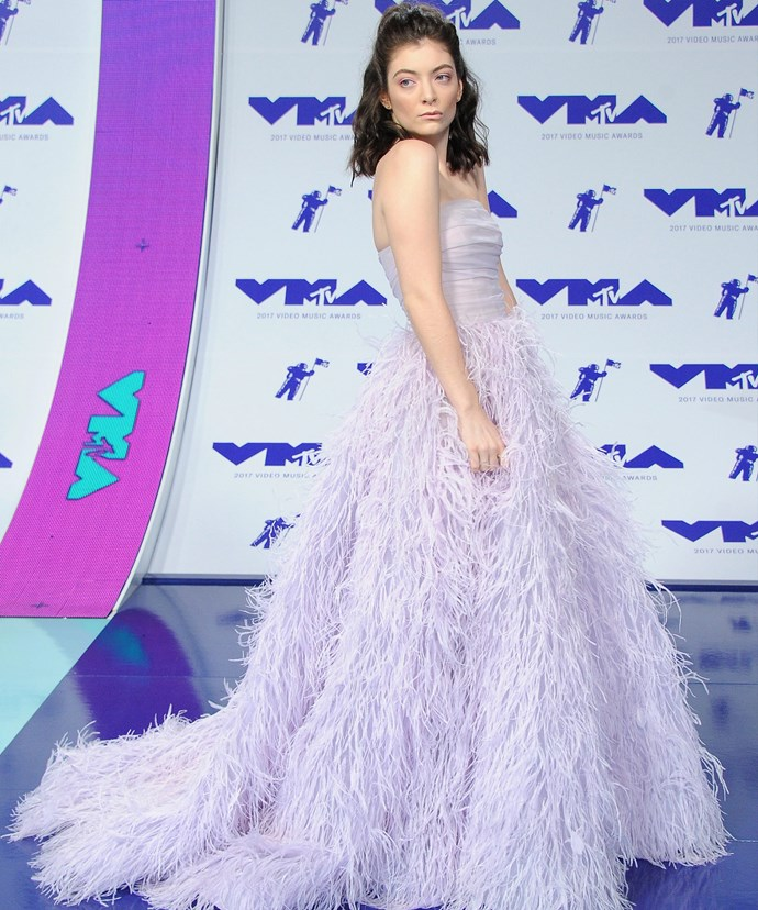 Lady of the moment, Lorde, is a visionary in a fluttery mauve Monique Lhuillier gown.