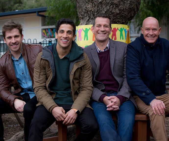 Hugh Sheridan, Firass Dirani, Rhys and Gary Sweet in season five of *House Husbands*.