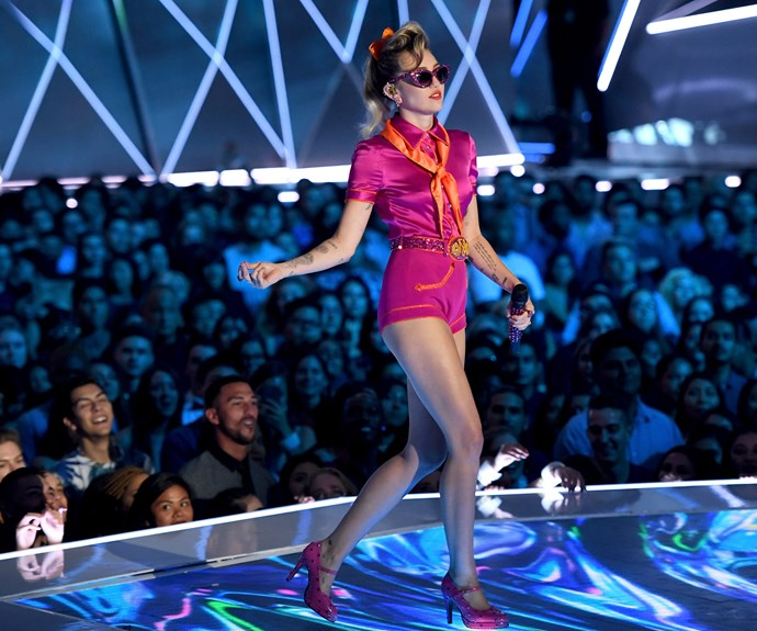 Miley put her best foot forward for an upbeat performance.