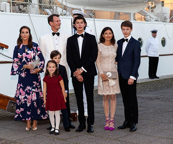 Last year the Prince had a lavish 18th: (L-R) Princess Marie, Prince Joachim, Prince Nikolai, Alexandra Christina Manley (Nikolai's mother and Joachim's ex-wife), Prince Felix, Princess Athena and Prince Henrik.