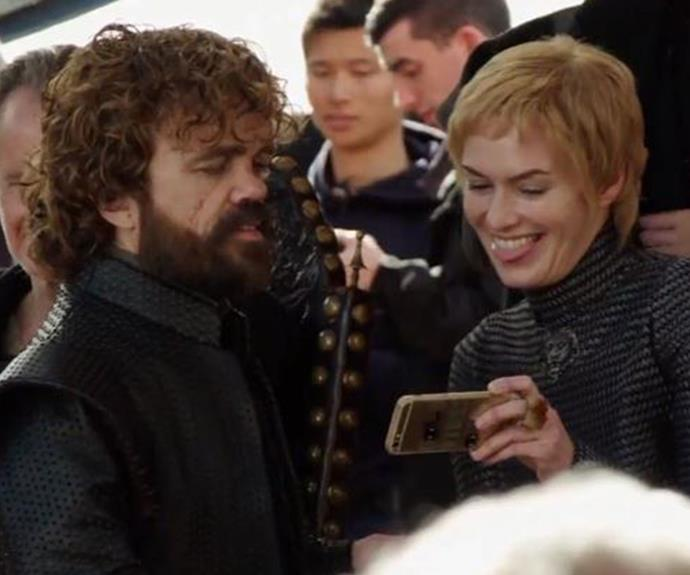 Peter Dinklage (Tyrion) shares a giggle with Lena Headey (Cersei) on set.