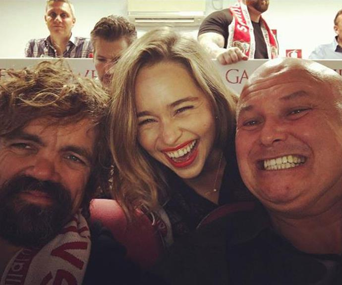 Peter Dinklage (Tyrion), Emilia Clarke (Daenerys) and Conleth Hill (Varys) take a trip to watch the football whilst filming in Spain.