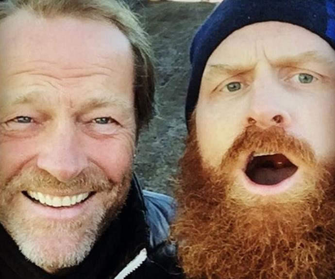 Iain Glen (Ser Jorah) snaps a selfie with Kristofer Hivju (Tormund Giantsbane).