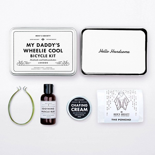 """A fully paid-up member of the Cycling Widow club? We can't offer a quick fix for Father's Day, but we can promise this cute gift from little ones will go down a treat with their Lycra-loving daddy. <br><br> [My Daddy's Wheelie Cool Bicycle Kit](https://www.menssociety.com/products/my-daddys-wheelie-cool-bicycle-kit