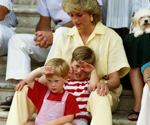 Diana with her two sons, William and Harry